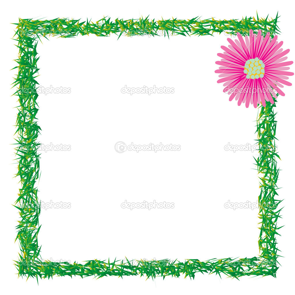 Grass and flower photo frame, abstract art illustration — Stock Vector #1905755