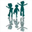 Kids blue silhouettes with stripes — Stock Vector