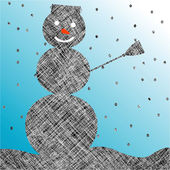 Striped snow man — Stock Vector