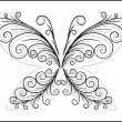 The abstract  black butterfly - Stock Vector