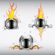 Stock Vector: Fiery buttons