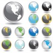 Set of glass globes — Stock Vector
