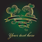 Green hearts with a gold ornament — Stock Vector