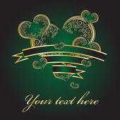 Corações verdes com um ornamento de ouro — Vetorial Stock