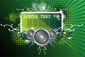 Green Illustration on a musical theme — Stock Vector