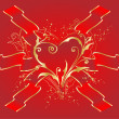 Royalty-Free Stock Vector Image: Red heart with ribbons
