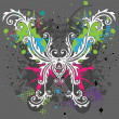 The abstract butterfly on grunge  backgr - Stock Vector