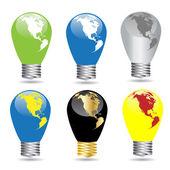 Set of colour bulbs — Stock Vector
