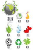 Set of different globes — Stock Vector