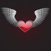 带翅膀的心 — 图库矢量图片