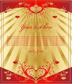 Vintage gouden hart — Stockvector