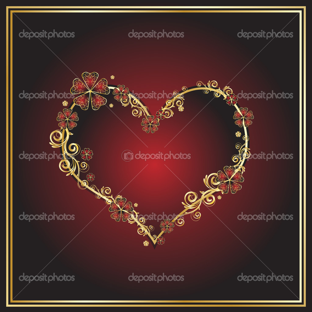 Red heart with filigree ornament  Stock Vector #1280392