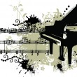 Royalty-Free Stock Vector Image: Grunge Piano with Note Staff
