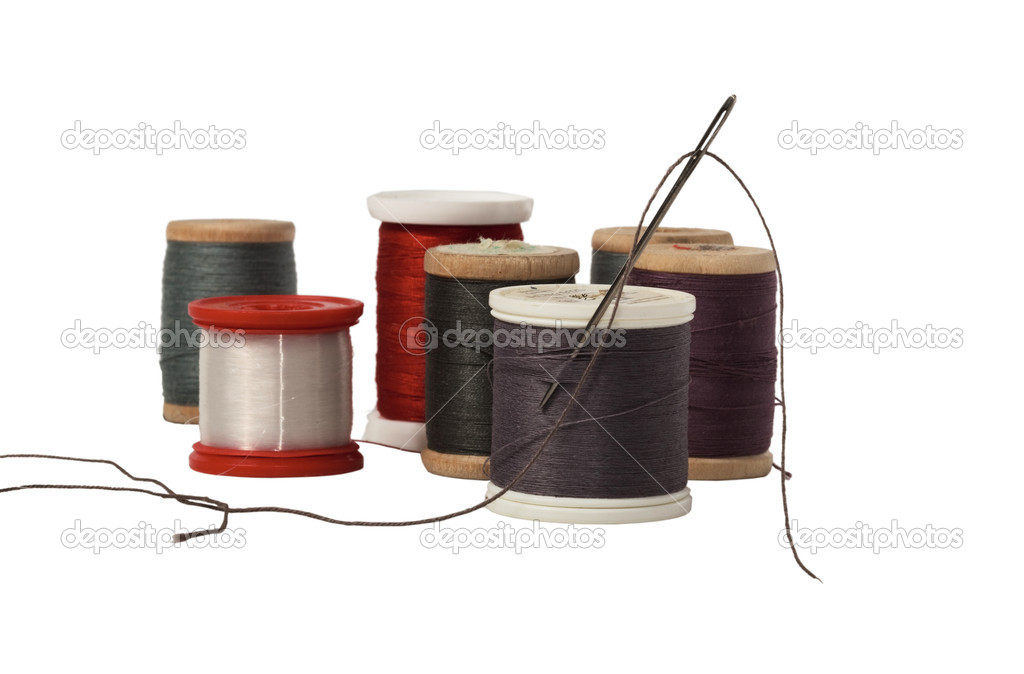 Thread with needle on white background — Stock Photo #1305624