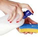 Sponge for wash utensil — Stock Photo