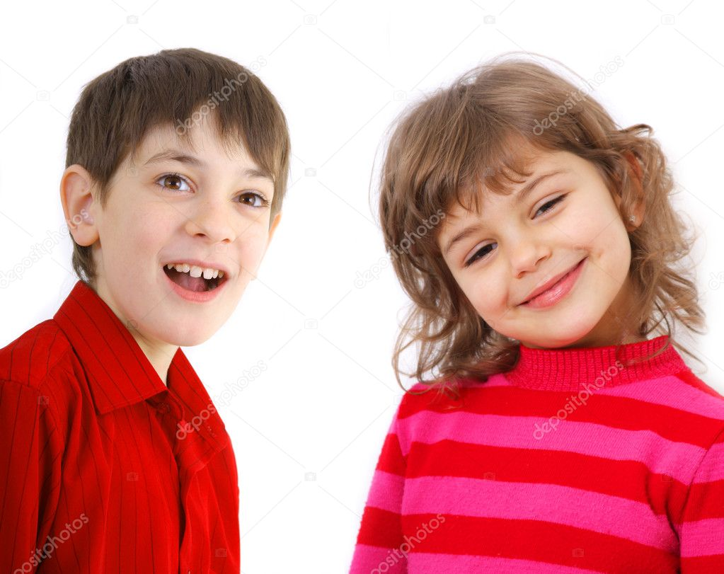 Portrait of two smiling kids isolated on white background — Stok fotoğraf #1343142