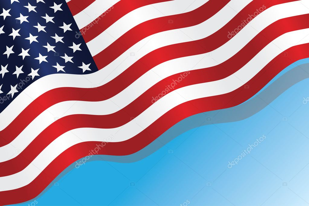 The American flag against the blue sky — Stock Vector #1283156