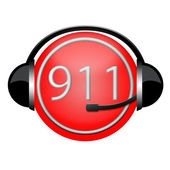 911 headphone sign — Stock Photo