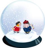 Valentine snowglobe — Stock Vector
