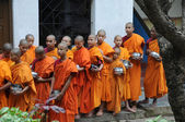 Buddha community, waiting for lunch — Stock Photo