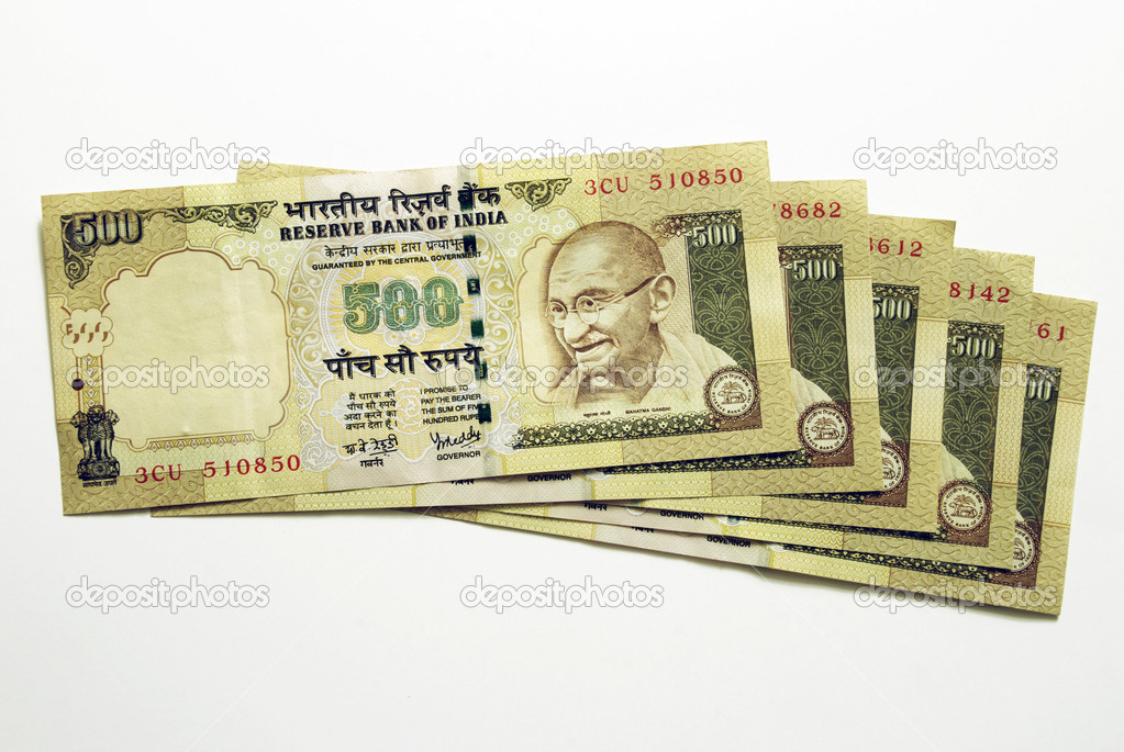 Five hundred Indian Bank notes — Stock Photo #1526360
