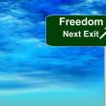 Freedom Freeway Exit Sign — Stock Photo