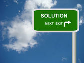 Solutions Freeway Exit Sign — Stock Photo