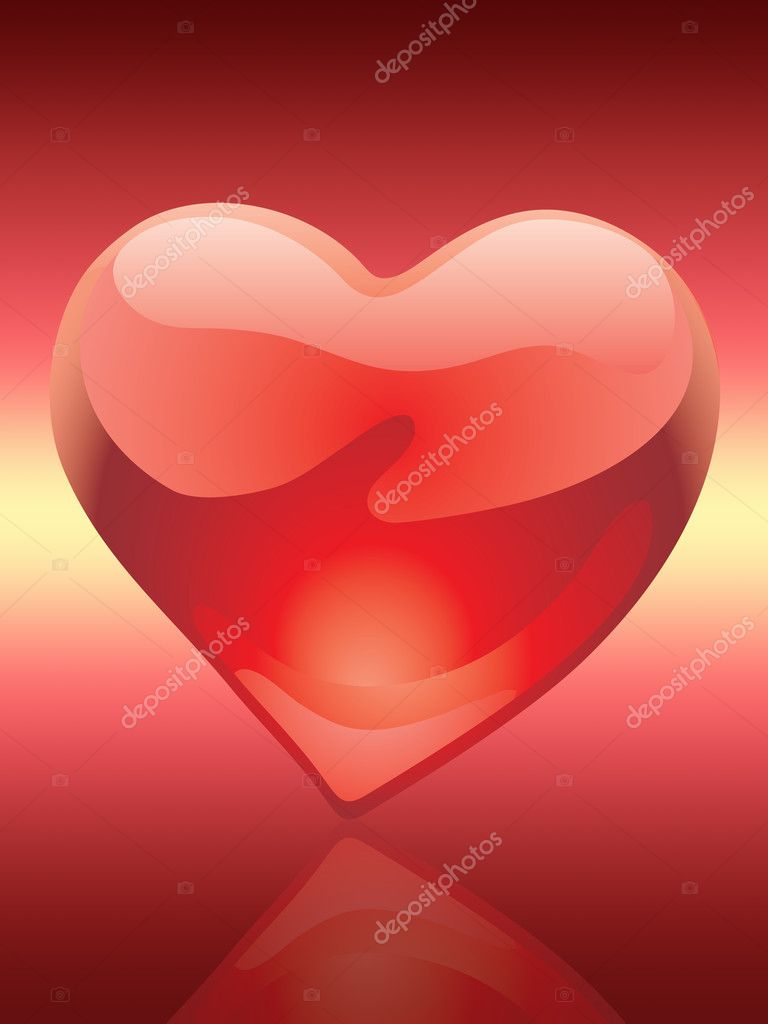 Glossy hearts of love illustration over red background — Stock Photo #1808714