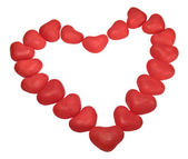 Bright red hearts on white background — Stock Photo