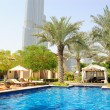 Hotel swimming pool area in Dubai downto - Stok fotoğraf