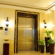 Lift entrance area in night illumination — Stock Photo