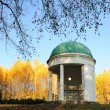 Pavilion in park with yellow birch tree — Stock Photo