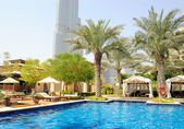 Hotel swimming pool area in Dubai downto — Stock Photo