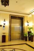 Lift entrance area in night illumination — Stock Photo