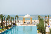 Swiming pool and beach area, UAE — Stock Photo