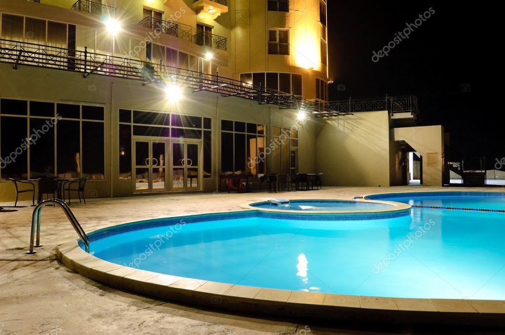 SPA swimming pool in night illumination, UAE — Stock Photo #1264147