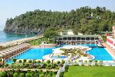 Hotel on Mediterranean sea shore — Stock Photo