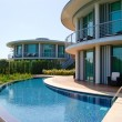 Modern villas at turkish resort - Stock Photo