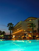 Popular hotel in night illumination — Stock Photo
