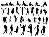 Many small silhouettes — Stock Photo