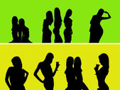 Silhouettes of naked girls — Stock Photo