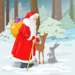 Santa claus in the forest — Stock Photo