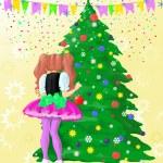 κορίτσι διακόσμηση χριστουγεννιάτικο δέντρο — Φωτογραφία Αρχείου