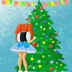 dziewczyna dekoracja choinki — Zdjęcie stockowe