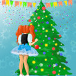tjej dekorera julgran — Stockfoto