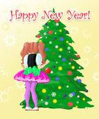 Girl decorate New Year — Stockfoto