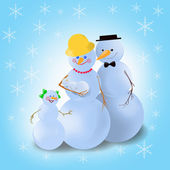 Winter snowman family — Stock Photo