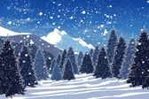 Besneeuwde winter forest — Stockfoto