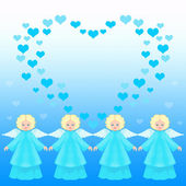 Valentine card with angels — Foto de Stock