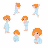Small girl icons — Stock Photo